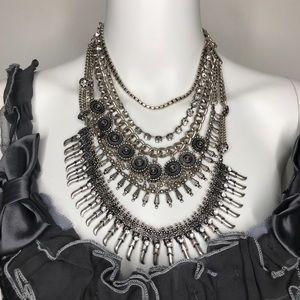 Silver Tribal Spike Fringe Collar Necklace
